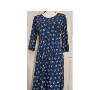 Seasalt Navy Cotton Stretch Fit Flare Dress Size 8